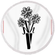 Flowers In Type Round Beach Towel by Connie Fox