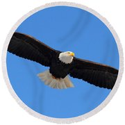 Flying Bald Eagle Round Beach Towel
