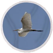 Round Beach Towel featuring the photograph Flying Egret by Jeannette Hunt