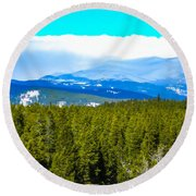 Round Beach Towel featuring the photograph Fog In The Rockies by Shannon Harrington