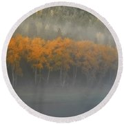 Round Beach Towel featuring the photograph Foggy Autumn Morning by Albert Seger