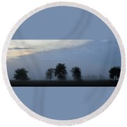Foggy Pennsylvania Treeline Round Beach Towel