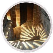 Follow The Light-stairs Round Beach Towel