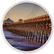 Folly Beach Pier Round Beach Towel by Lynne Jenkins