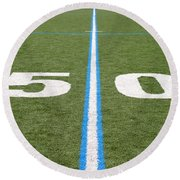 Football Field Fifty Round Beach Towel