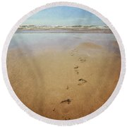 Footprints In The Sand Round Beach Towel by Lyn Randle