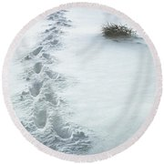 Footsteps In The Snow Round Beach Towel