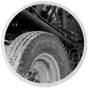 Round Beach Towel featuring the photograph Ford Tractor Details In Black And White by Jennifer Ancker