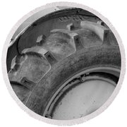 Round Beach Towel featuring the photograph Ford Tractor In Black And White by Jennifer Ancker