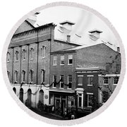 Round Beach Towel featuring the photograph Fords Theater - After Lincolns Assasination - 1865 by International  Images