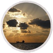 Round Beach Towel featuring the photograph Fort Lauderdale Sunrise by Clara Sue Beym