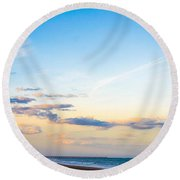 Round Beach Towel featuring the photograph Forte Clinch Pier by Shannon Harrington