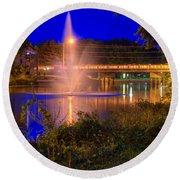 Fountain And Bridge At Night Round Beach Towel