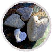Four Stone Hearts Round Beach Towel