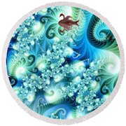 Fractal And Swan Round Beach Towel