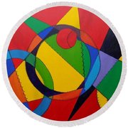 Round Beach Towel featuring the painting Frankenball by Julie Brugh Riffey