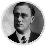Round Beach Towel featuring the photograph Franklin Delano Roosevelt by International  Images