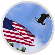 Round Beach Towel featuring the photograph Freedom Feeds The Family by Randall Branham