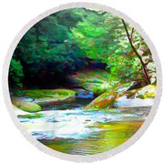 French Broad River Filtered Round Beach Towel