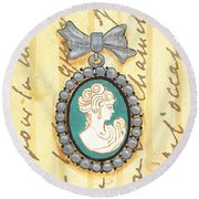 French Cameo 1 Round Beach Towel