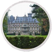French Country Mansion Round Beach Towel