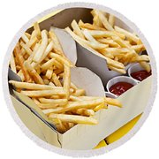 French Fries In Box Round Beach Towel