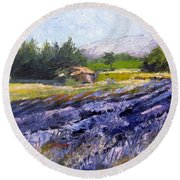 French Lavender  Provence Palette Knife Painting Round Beach Towel