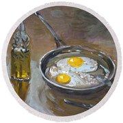 Fried Eggs Round Beach Towel