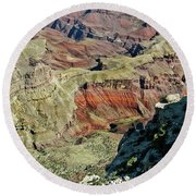 Round Beach Towel featuring the painting From Yaki Point 6 Grand Canyon by Bob and Nadine Johnston
