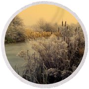 Round Beach Towel featuring the photograph Frost by Linsey Williams