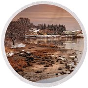 Frosty Sunset Round Beach Towel