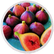 Fruit - Jersey Figs - Harvest Round Beach Towel by Susan Carella