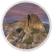 Full Moon Rise Behind Half Dome Round Beach Towel