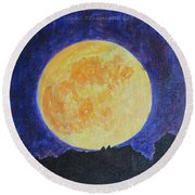 Round Beach Towel featuring the painting Full Moon by Sonali Gangane