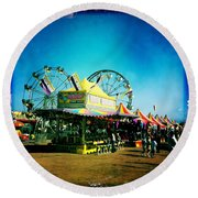 Round Beach Towel featuring the photograph Fun At The Fair by Nina Prommer