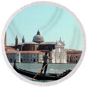 Gandola Rides In Venice Round Beach Towel