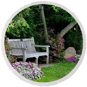 Round Beach Towel featuring the photograph Garden Bench by Michelle Joseph-Long