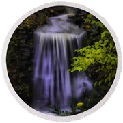Round Beach Towel featuring the photograph Garden Falls by Lynne Jenkins