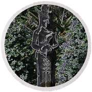 Garden Goddess Round Beach Towel