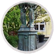 Round Beach Towel featuring the photograph Garden Statuary In The French Quarter by Alys Caviness-Gober