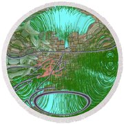 Round Beach Towel featuring the digital art Garden Wall by George Pedro