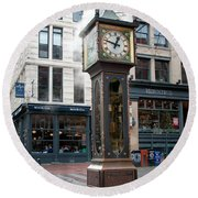 Gastown Steam Clock Round Beach Towel by Carol Ailles