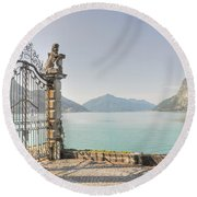 Gate On The Lake Front Round Beach Towel