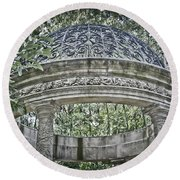 Gazebo At Longwood Gardens Round Beach Towel