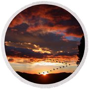 Geese Flying At Sunset Round Beach Towel