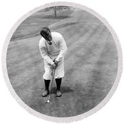 Round Beach Towel featuring the photograph Gene Sarazen Playing Golf by International  Images