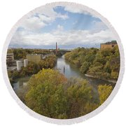 Round Beach Towel featuring the photograph Genesee River by William Norton