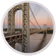 George Washington Bridge At Sunset Round Beach Towel