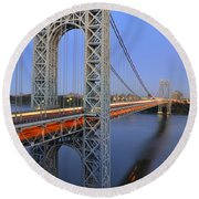 George Washington Bridge At Twilight Round Beach Towel by Zawhaus Photography