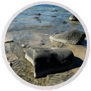 Georgian Bay Rocks Round Beach Towel by Nadine Dennis